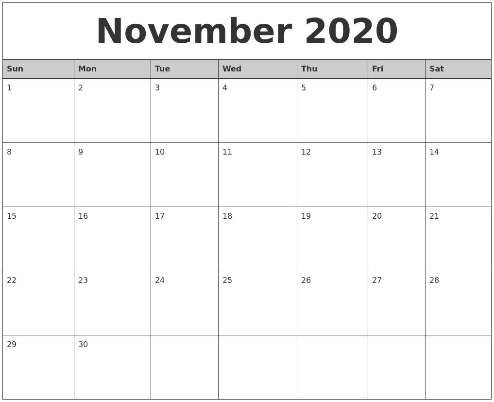 November 2020 Monthly Calendar Printable regarding Calendar Zoom November 2020
