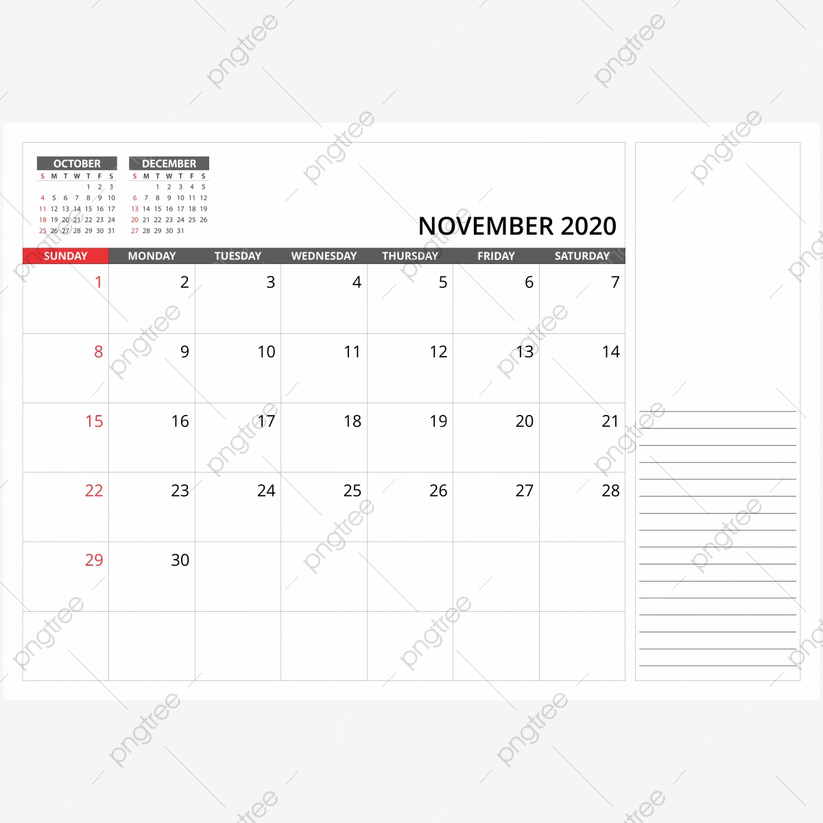 November 2020 Monthly Desk Calendar, 2020, Calendar, Png Png within November 2020 Clipart