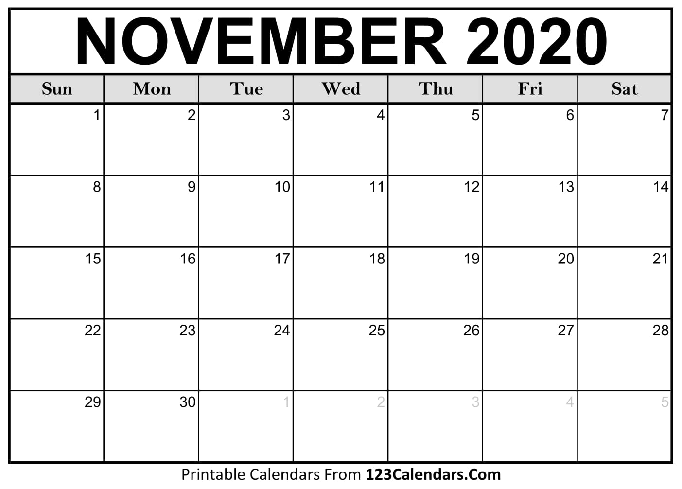 November 2020 Printable Calendar | 123Calendars with January 2020 Calendar 123Calendars