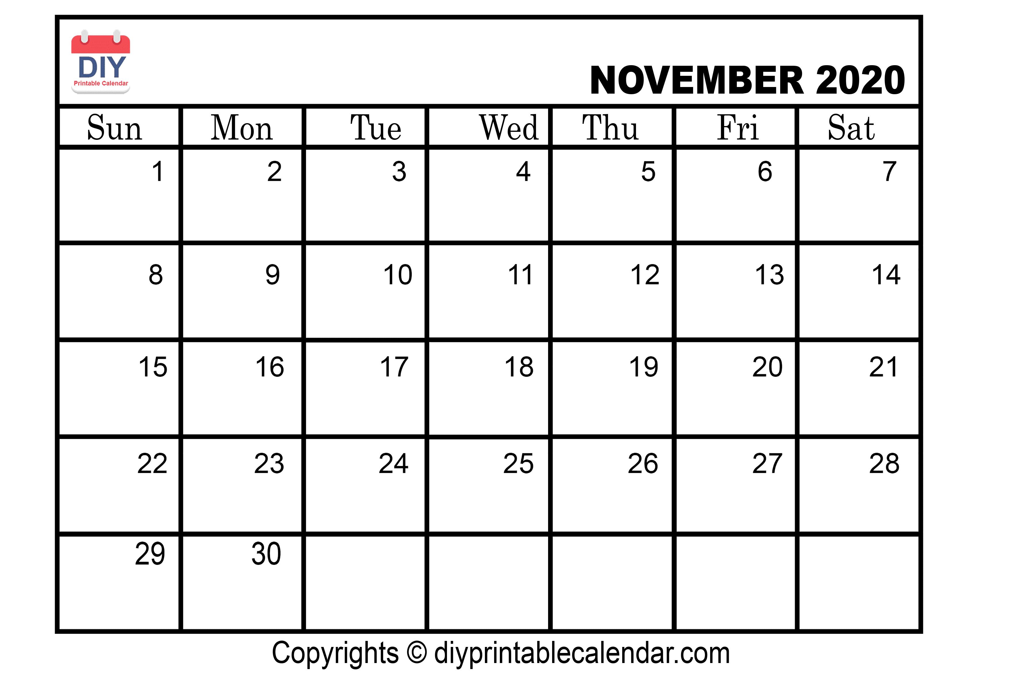 November 2020 Printable Calendar Template for November Calendar 2020 Transparent