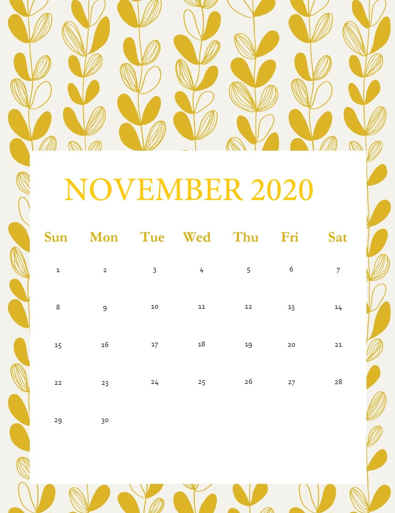 November 2020 Wall Calendar | Free Printable Calendar intended for November 2020 Clipart