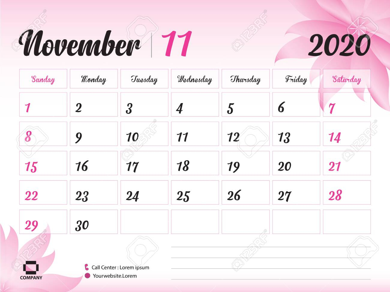 November 2020 Year Template, Calendar 2020, Desk Calendar Design,.. regarding November 2020 Clipart