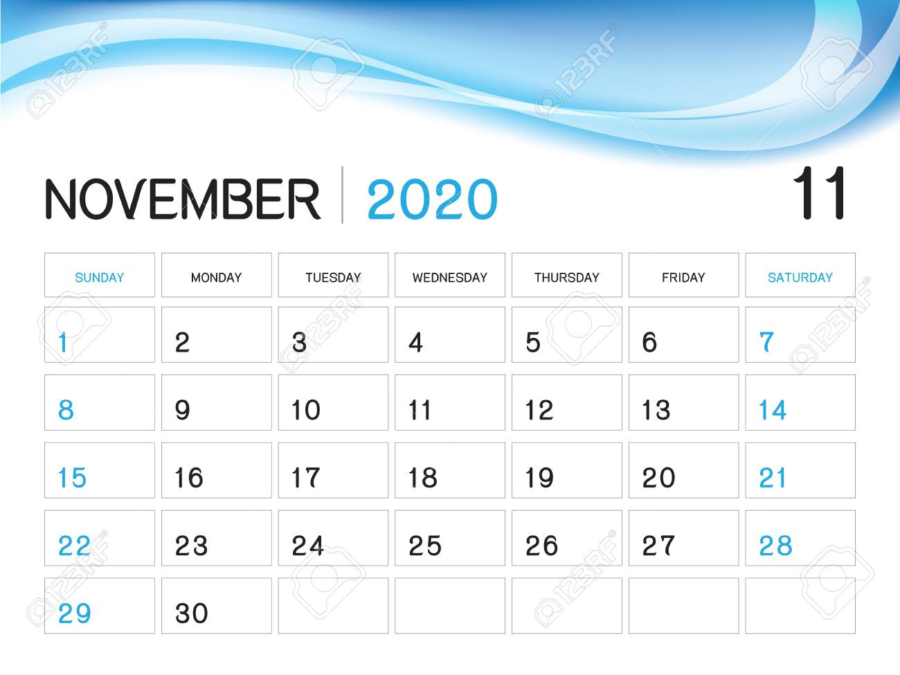 November 2020 Year Template, Calendar 2020 Vector, Desk Calendar.. intended for November 2020 Clipart