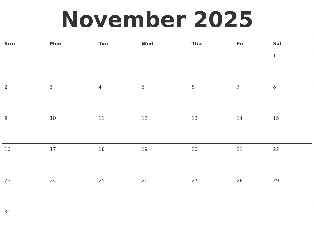 November 2025 Free Printable Weekly Calendar pertaining to Free Online Weekly Calendar