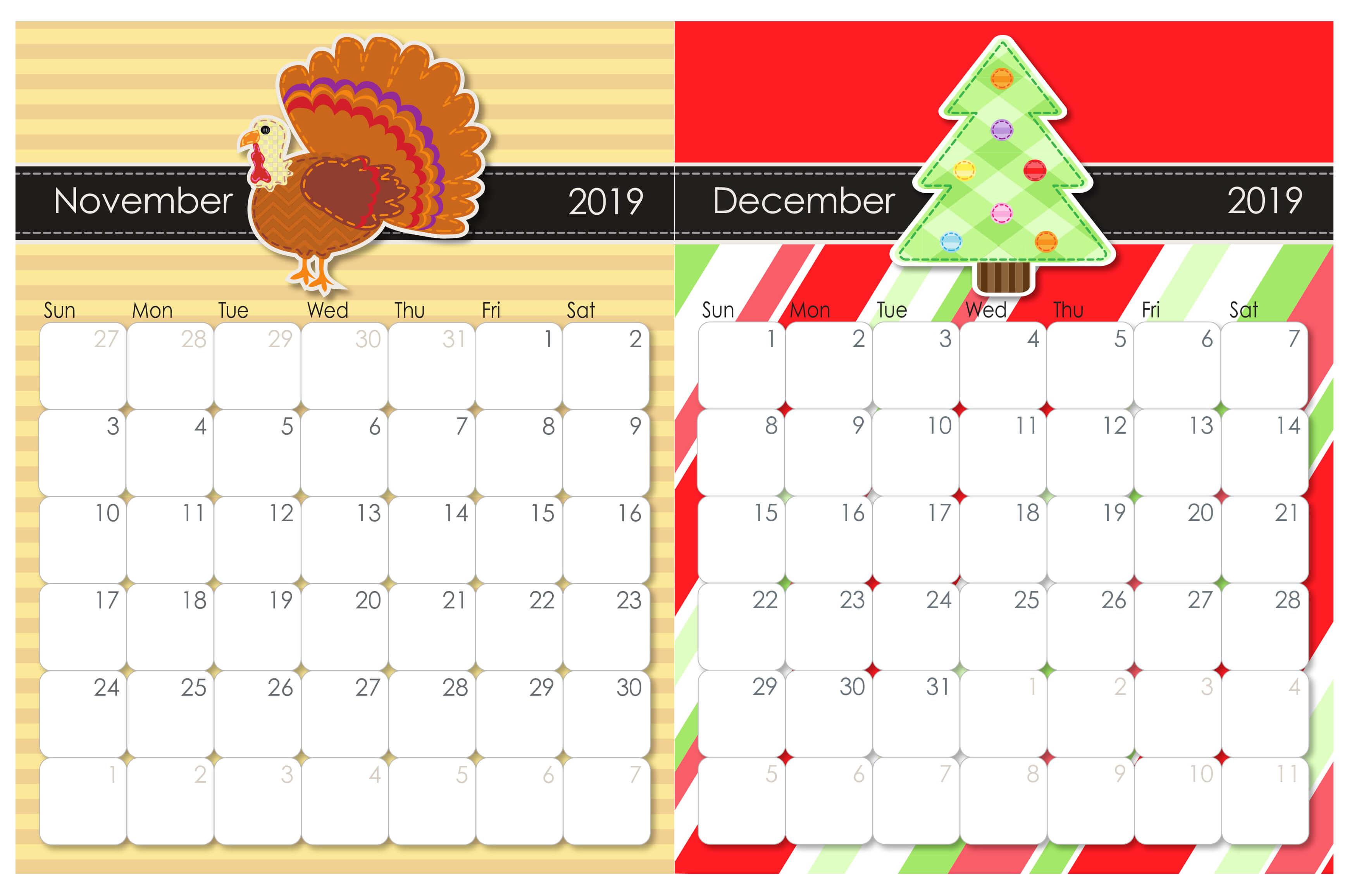 November And December 2019 Calendar Template  2019 inside November Decorated Calendar
