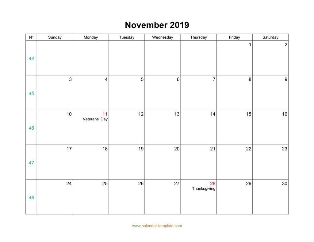 November Calendar 2019 Blank Template for Monday To Sunday Calendar Template