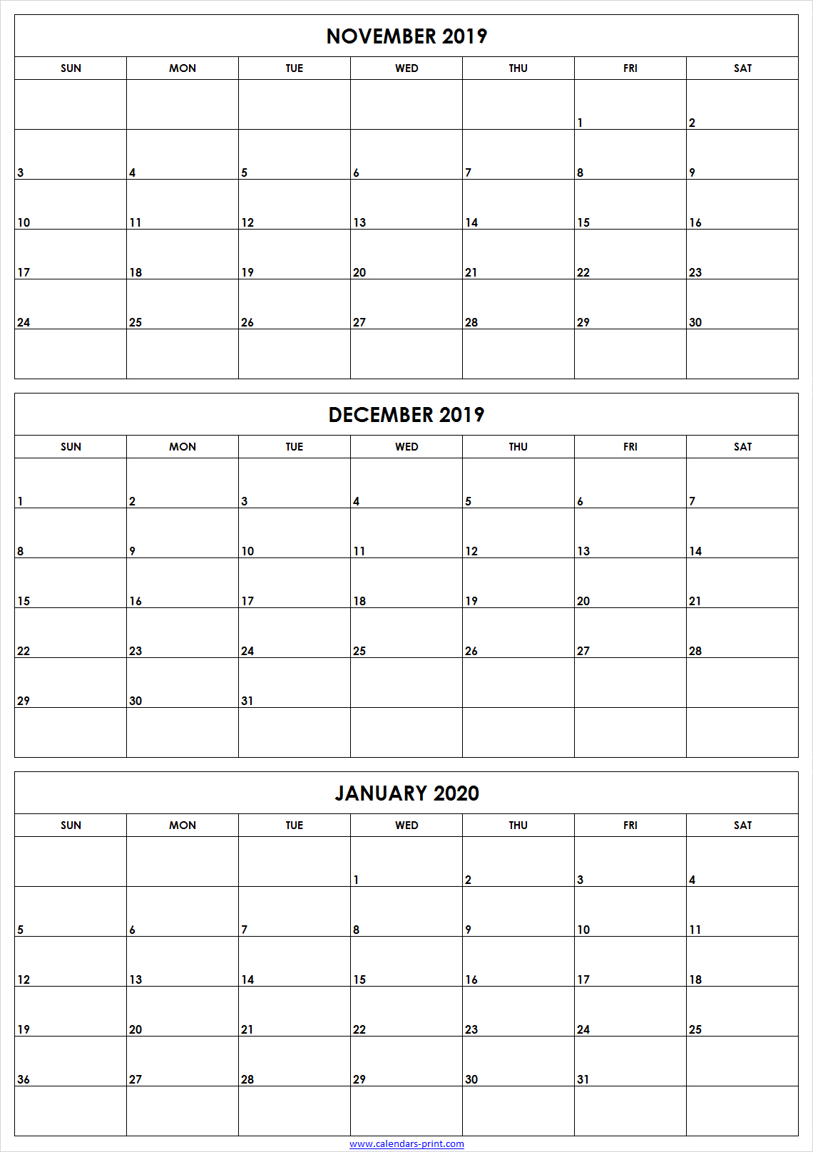 November December 2019 January 2020 Calendar | Editable Template in 3 Month Calendar Print