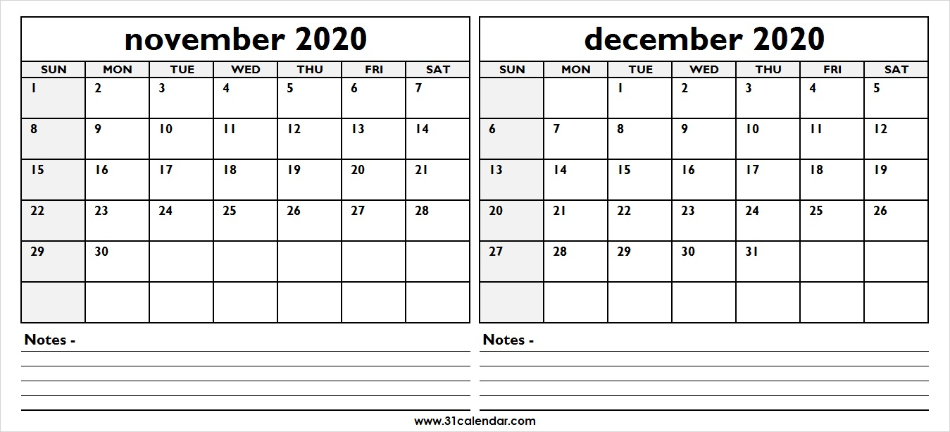 November December 2020 Calendar | Two Month 31 Calendar Template within Two Month Calendar November December 2020