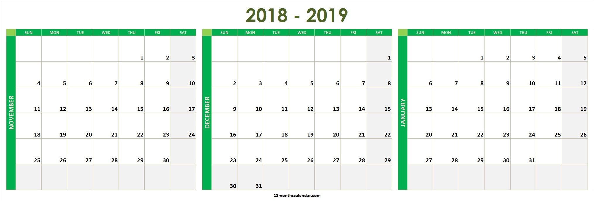 November December 2020 January 2021 Calendar Printable Free intended for Two Month Calendar November December 2020