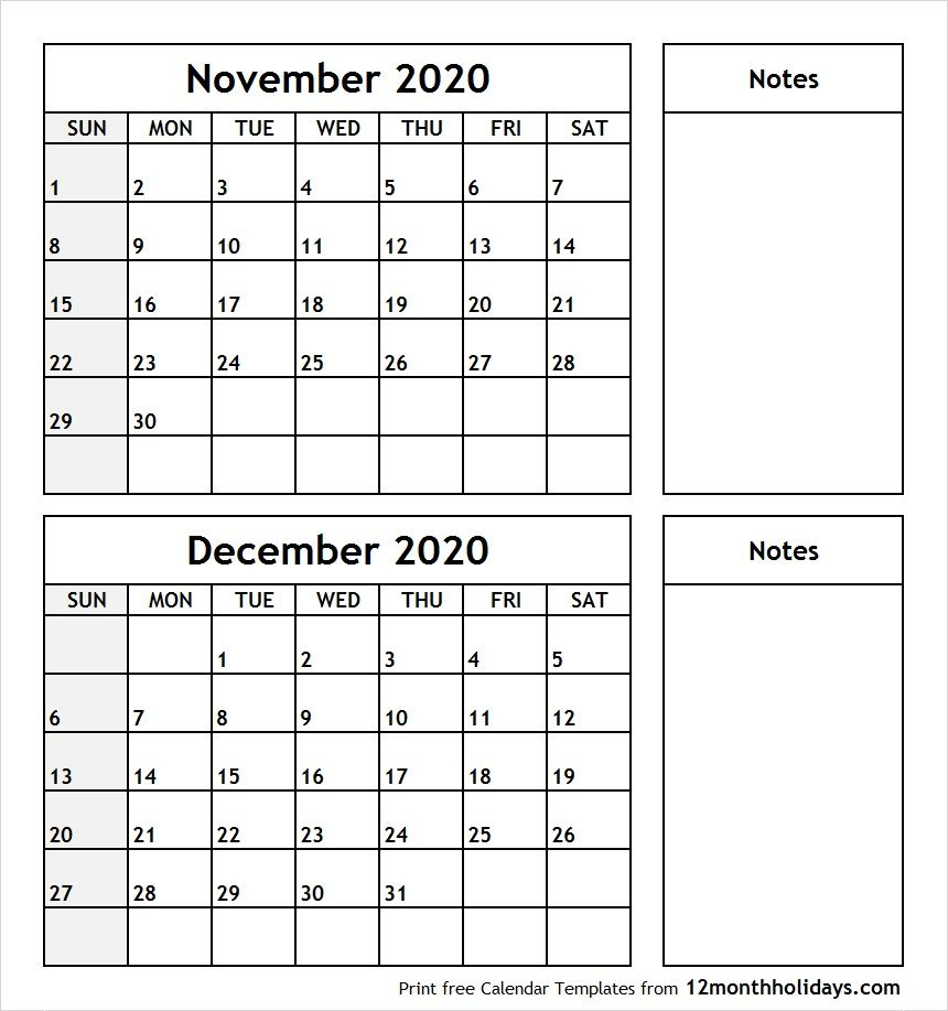 November December 2020 Printable Calendar | Calendar June within Two Month Calendar November December 2020