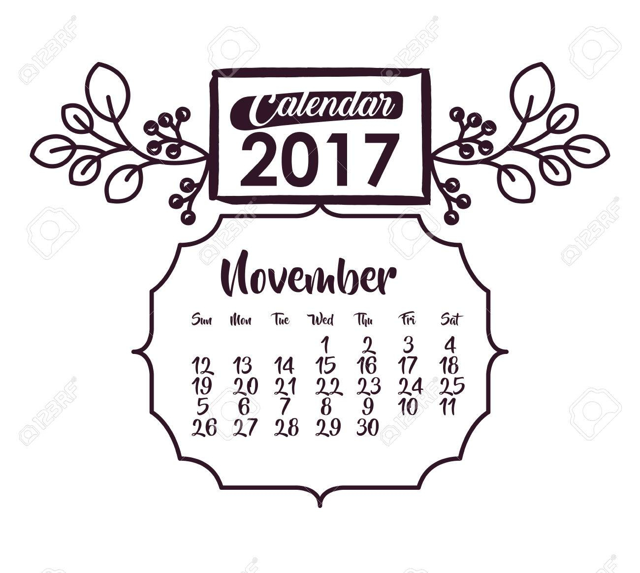 November Of 2017 Icon. Calendar Planner And Decoration Theme regarding November Decorated Calendar