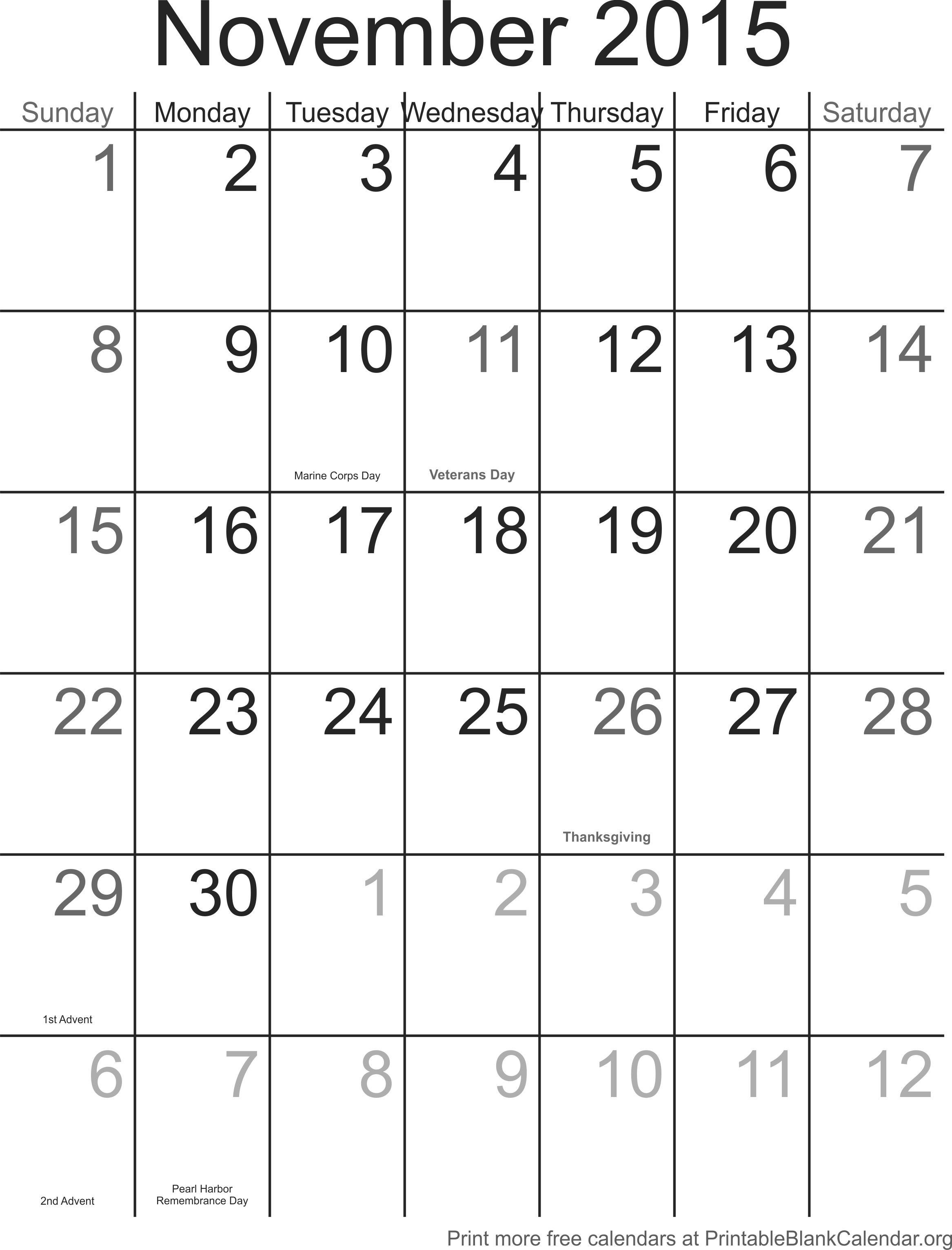 Noviembre 2015 Calendario  Calendarios Para Imprimir intended for Calendario 2015 Para Imprimir