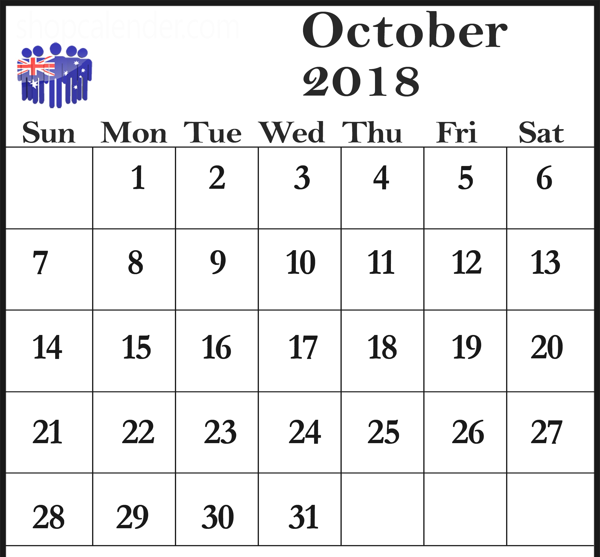 October 2018 Calendar Australia School Holidays  Free with regard to 2018 Calendar Australia Printable