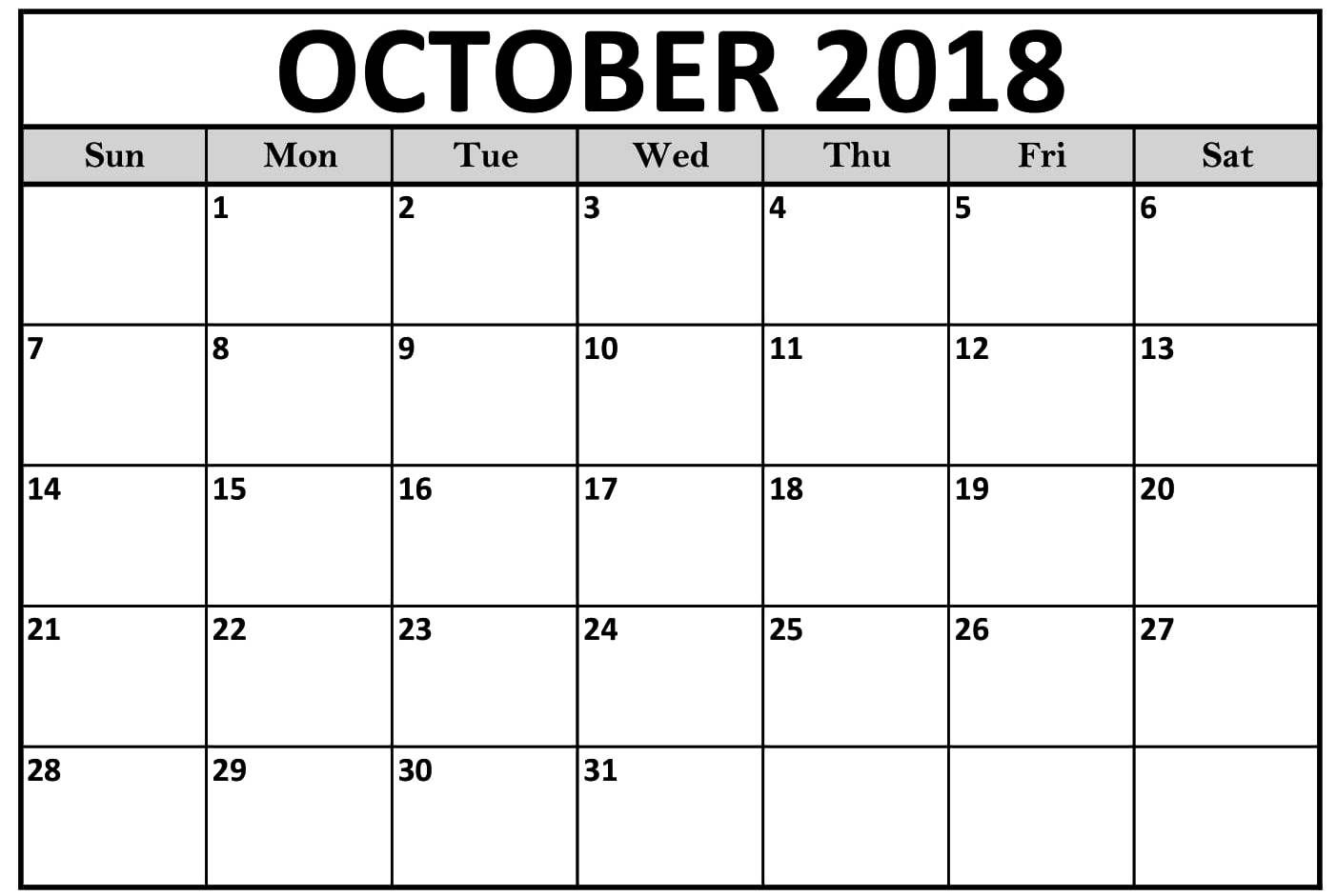 October 2018 Calendar Printable Landscape | October 2018 with regard to Free Printable Pocket Calendar