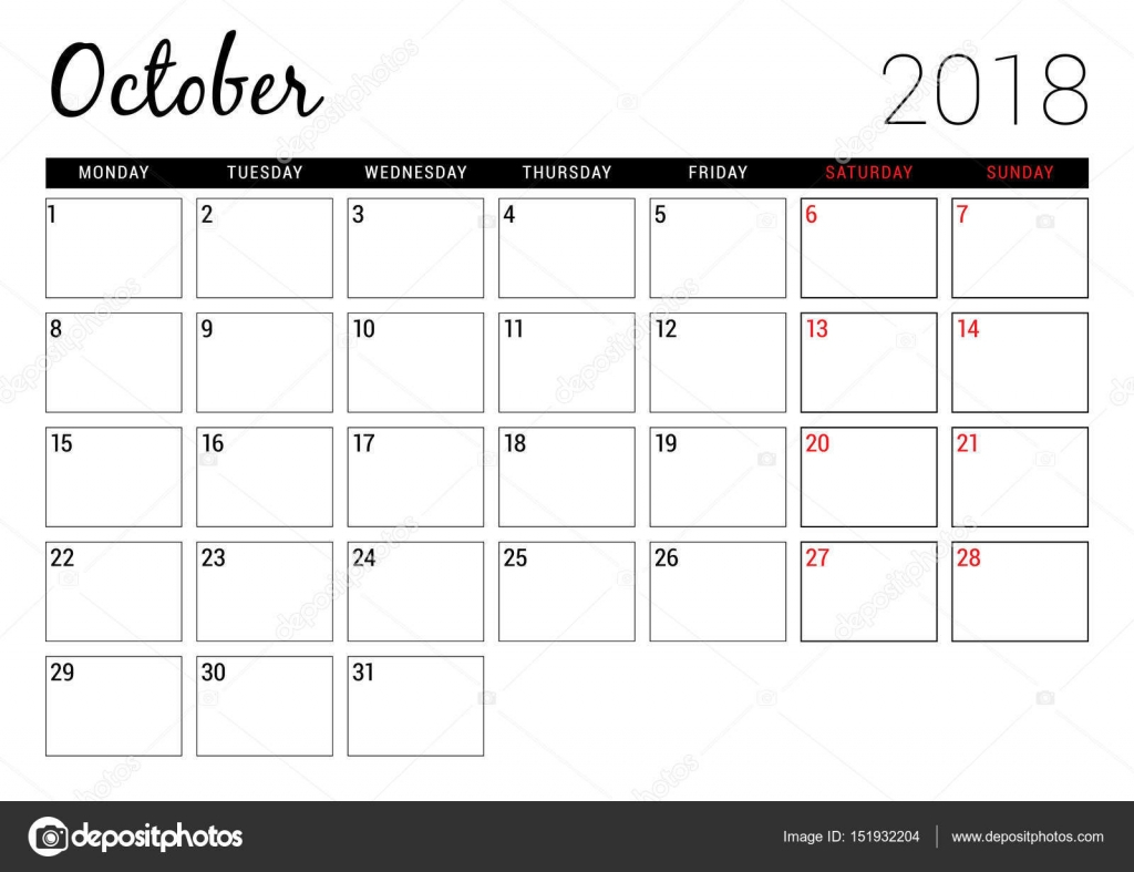 October 2018. Printable Calendar Planner Design Template within Printable Calendar By Week