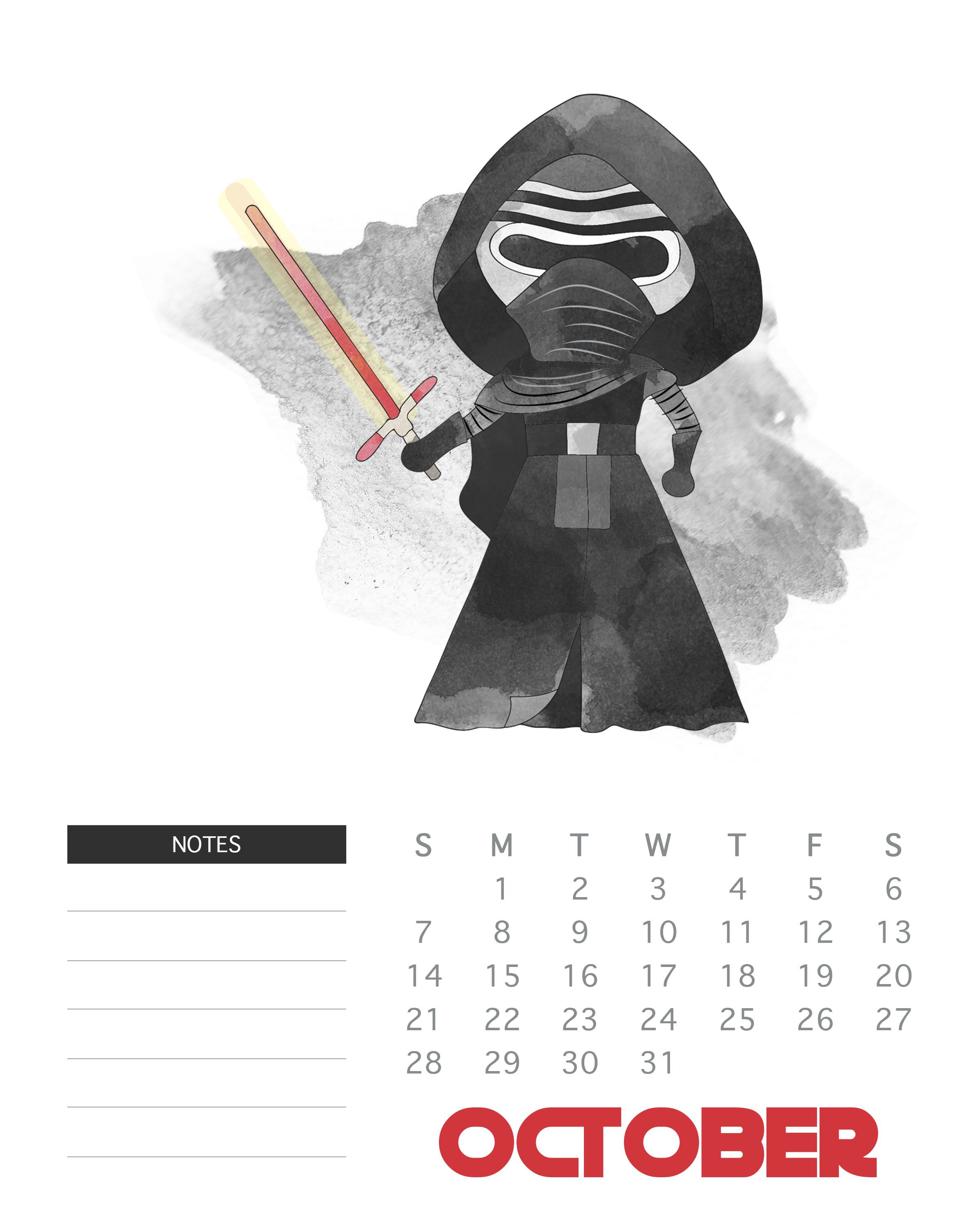 October 2018 Star Wars Calendar Template | Star Wars regarding Star Wars Calendar Printable