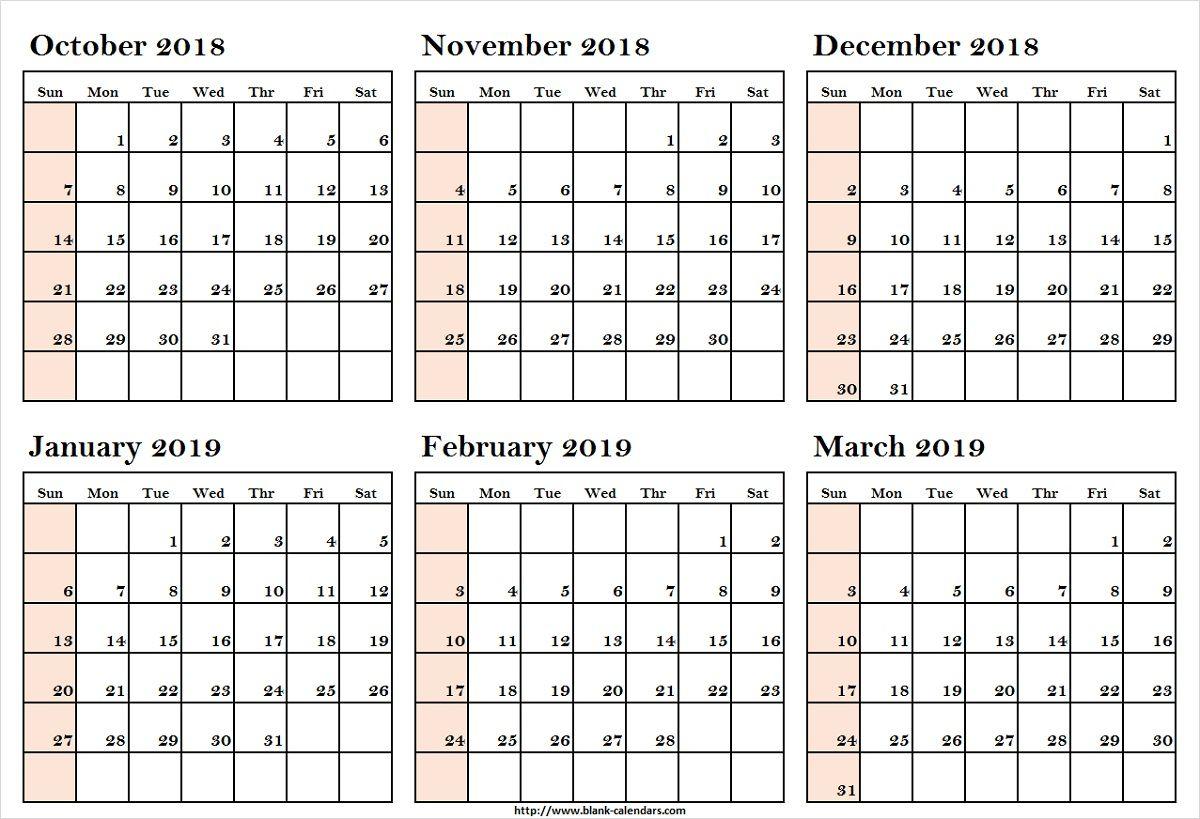 October 2018 To March 2019 Calendar Printableoctober 2018 To regarding Free Printable 6 Month Calendar