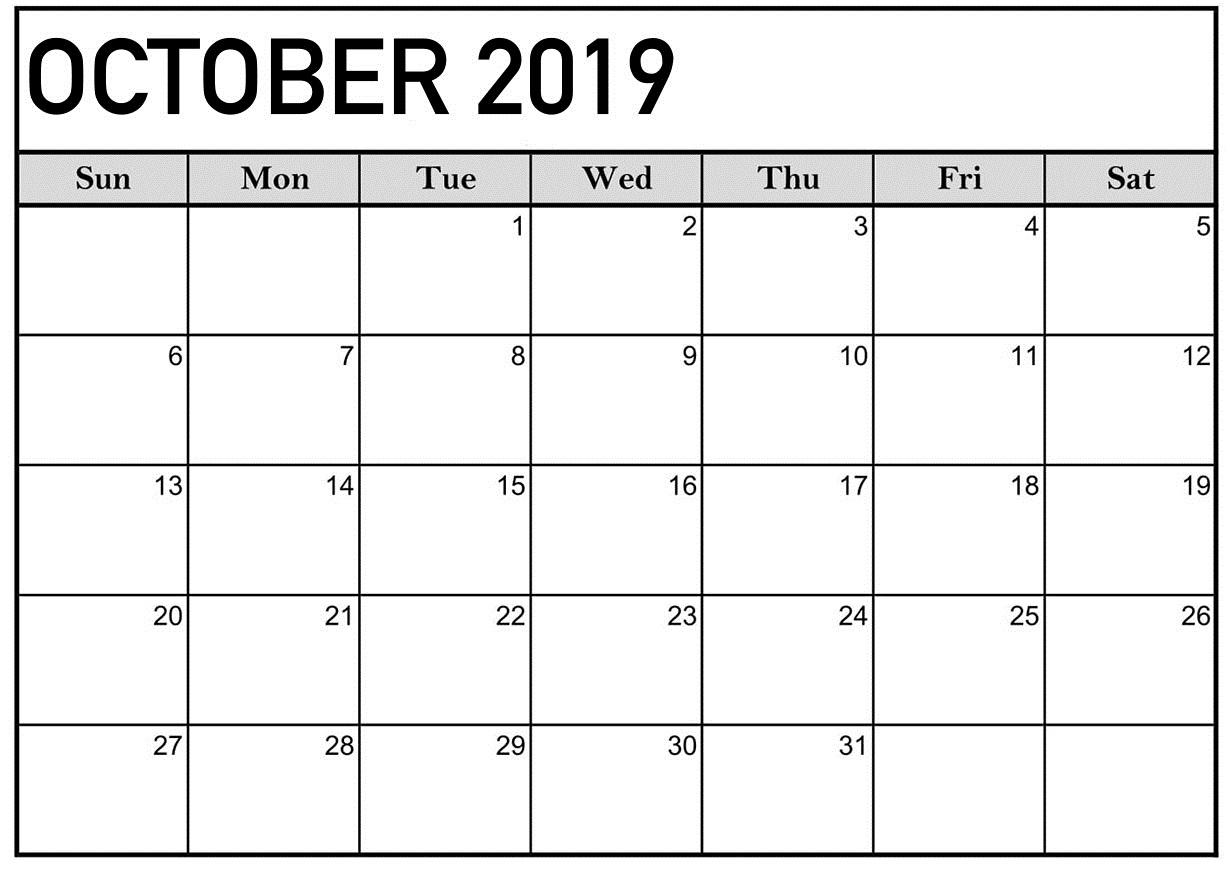 October 2019 Calendar Printable Word Template  Latest regarding Blank Calendar Template Word