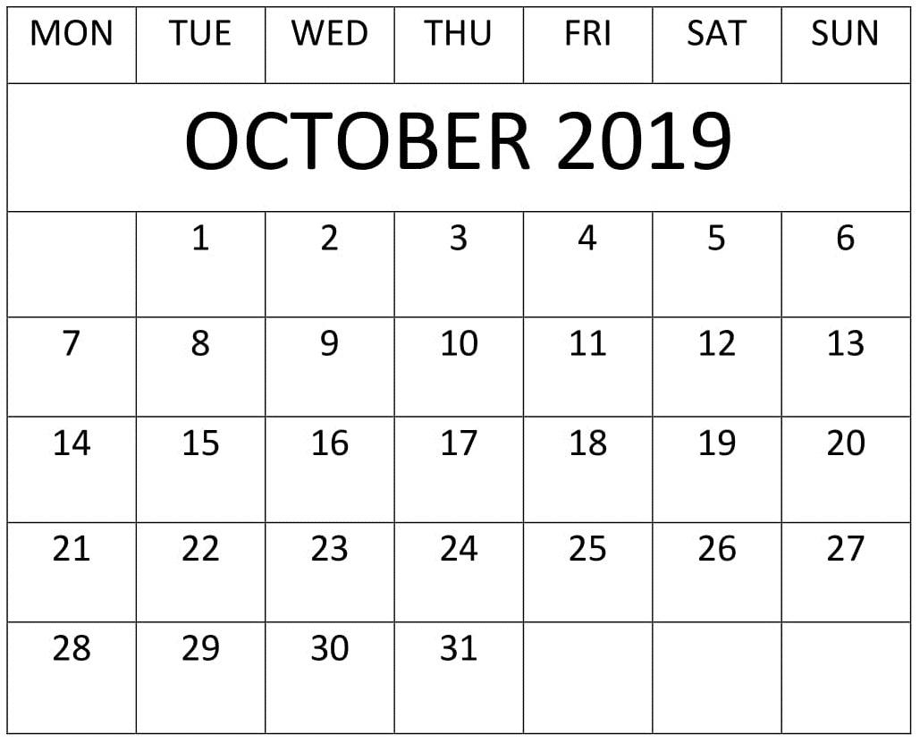 October 2019 Calendar Template For Google Sheets – Free for Google Calendar Printable Template