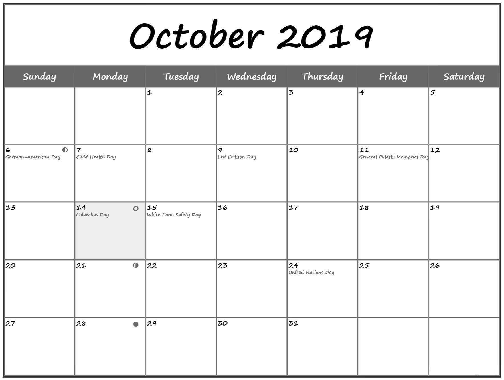October 2019 Calendar With Holidays Printable With Notes with Vacation Calendar Template