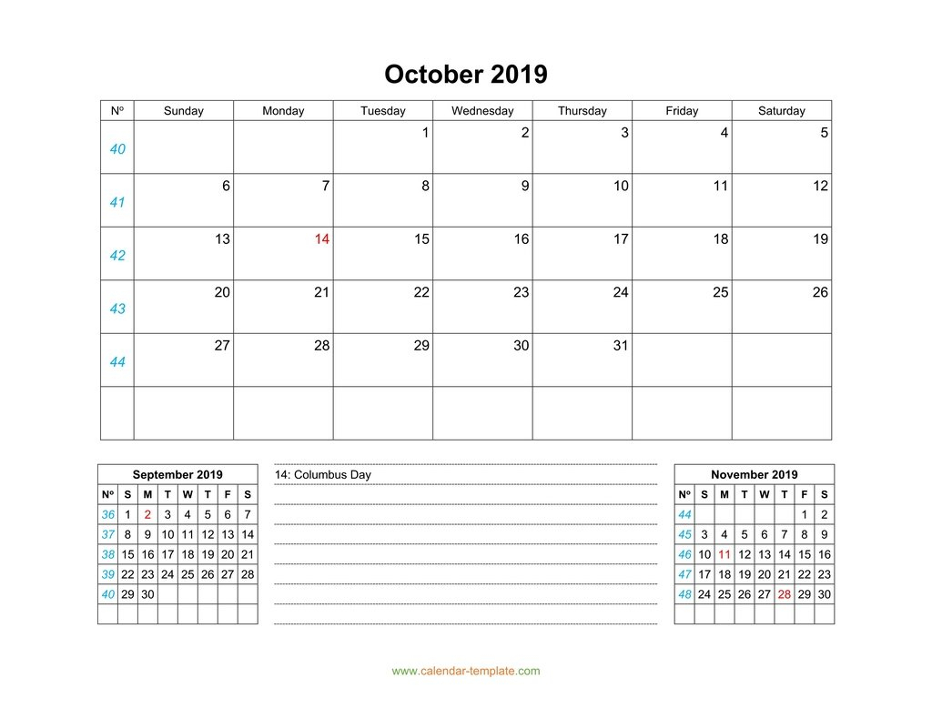 October 2019 Calendar With Previous And Next Month (Bottom) pertaining to Monday Through Sunday Calendar