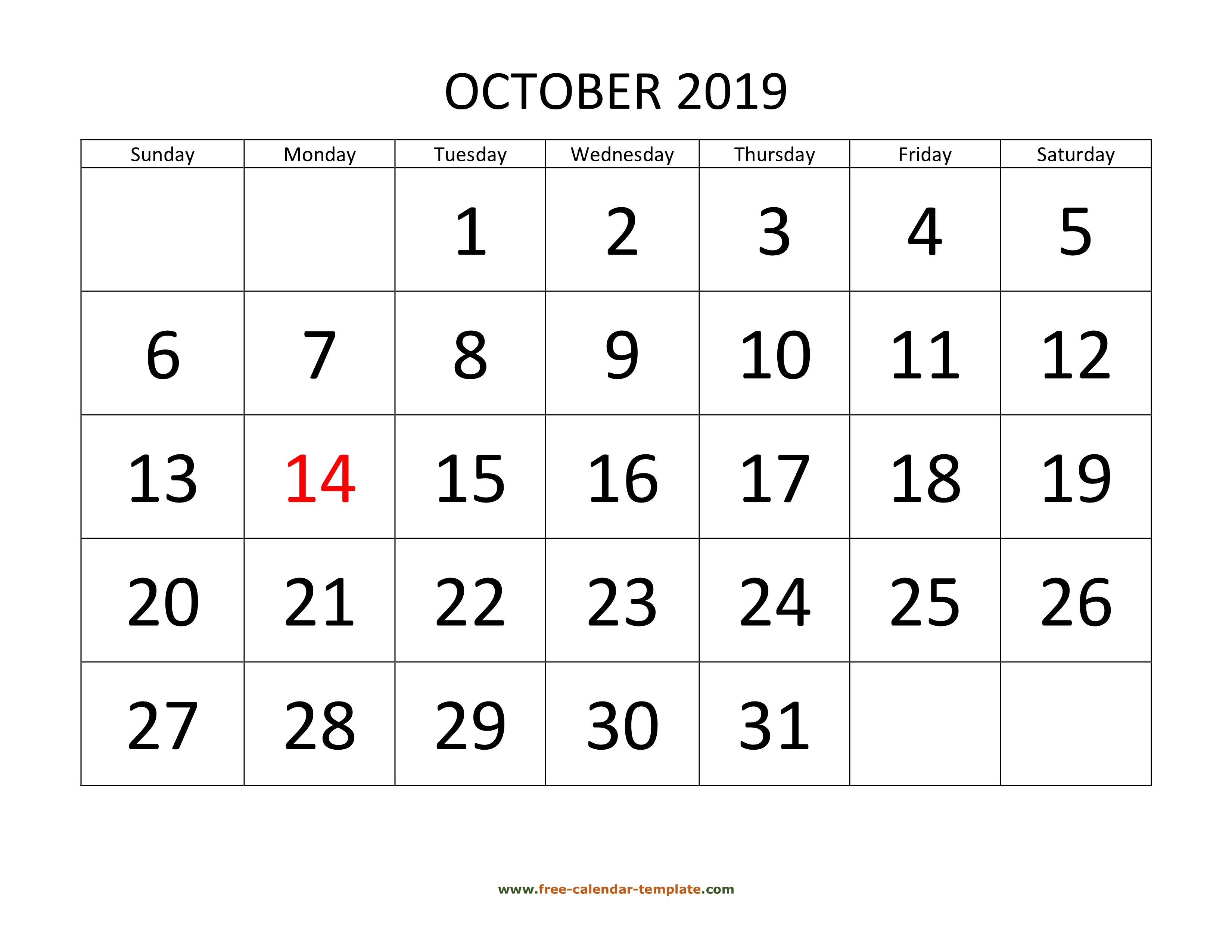 October 2019 Free Calendar Tempplate | Freecalendar pertaining to Monday Through Friday Calendar Template Word