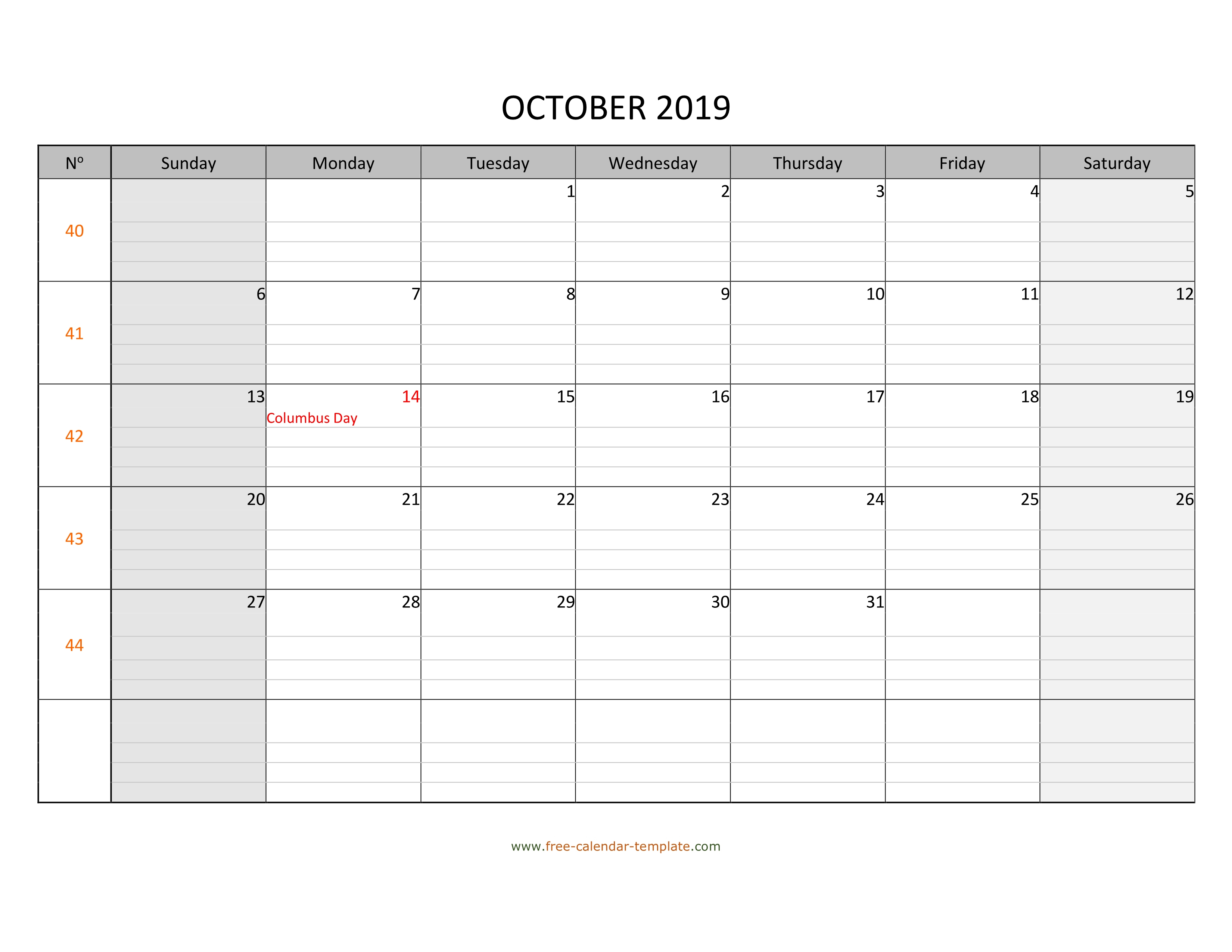 October 2019 Free Calendar Tempplate | Freecalendar within Printable Lined Monthly Calendar