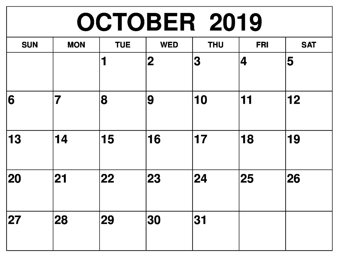 October 2019 Printable Calendar Word, Pdf By Month  Latest intended for Blank Calendar Template Word