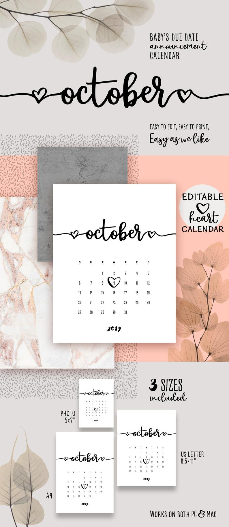 October 2019 Printable Pregnancy Calendar Template Lovely Baby Due Date  Announcement Pregnancy Calendar Pdf Baby Announce Editable Calendar intended for Printable Pregnancy Calendar
