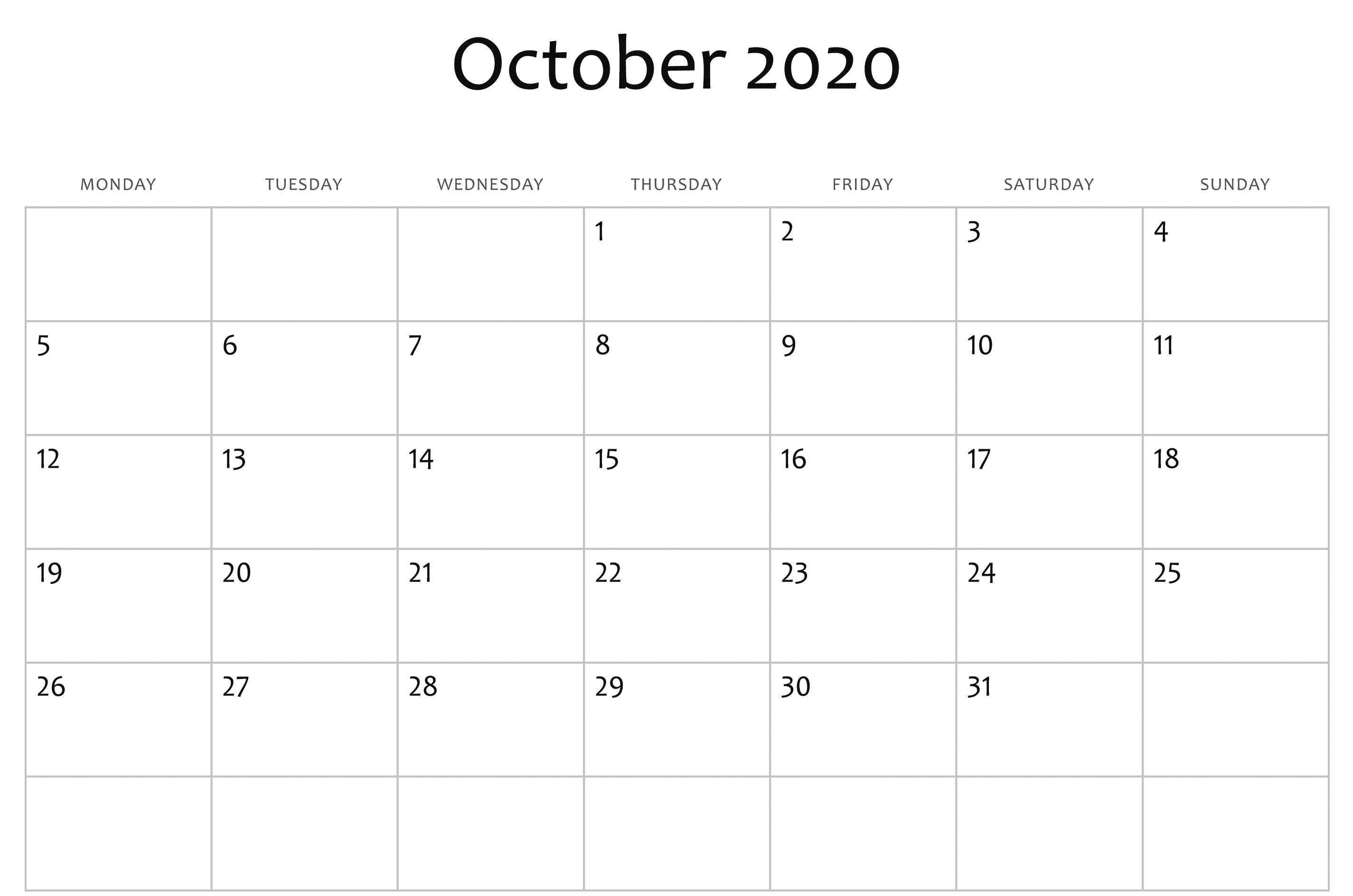 October 2020 Calendar Pdf, Word, Excel Template 3 in Word Calendar Template 2020