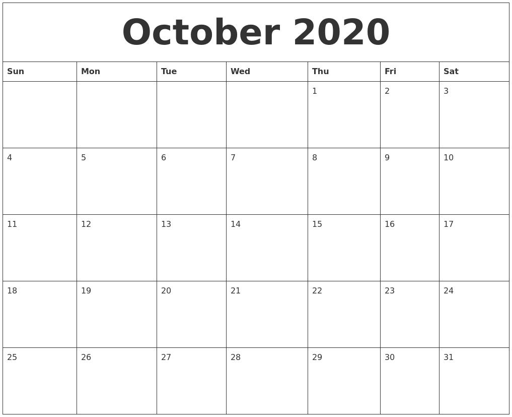 October 2020 Calendar Templates Free for 2020 Calendar Template Monday Start