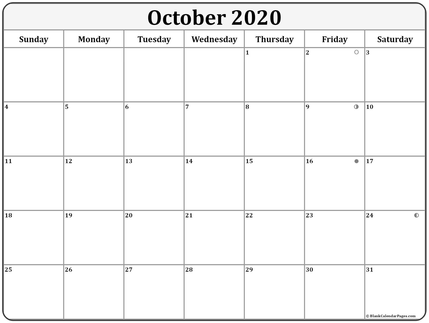 October 2020 Lunar Calendar | Moon Phase Calendar intended for Lunar Calendar October 2020
