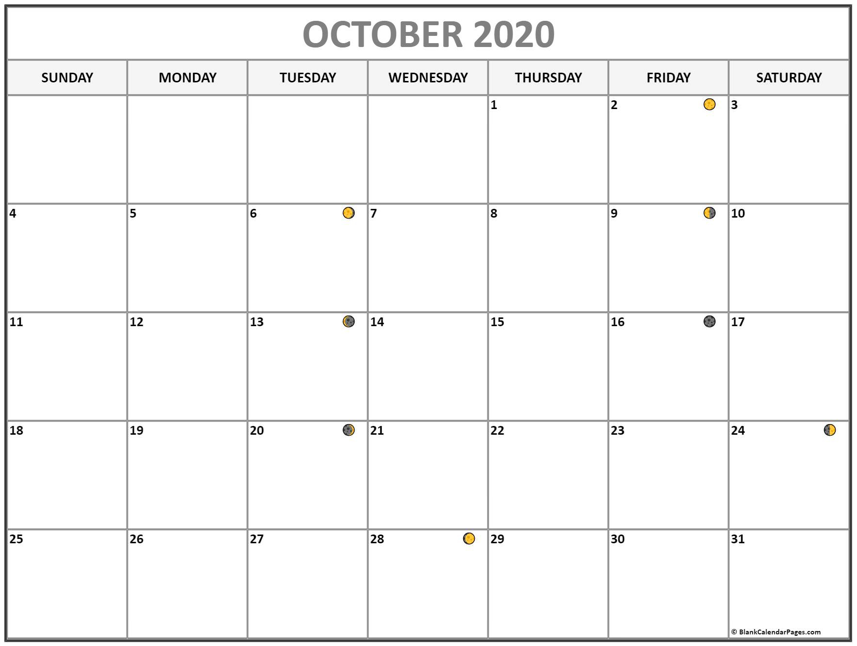 October 2020 Lunar Calendar | Moon Phase Calendar with Lunar Calendar October 2020