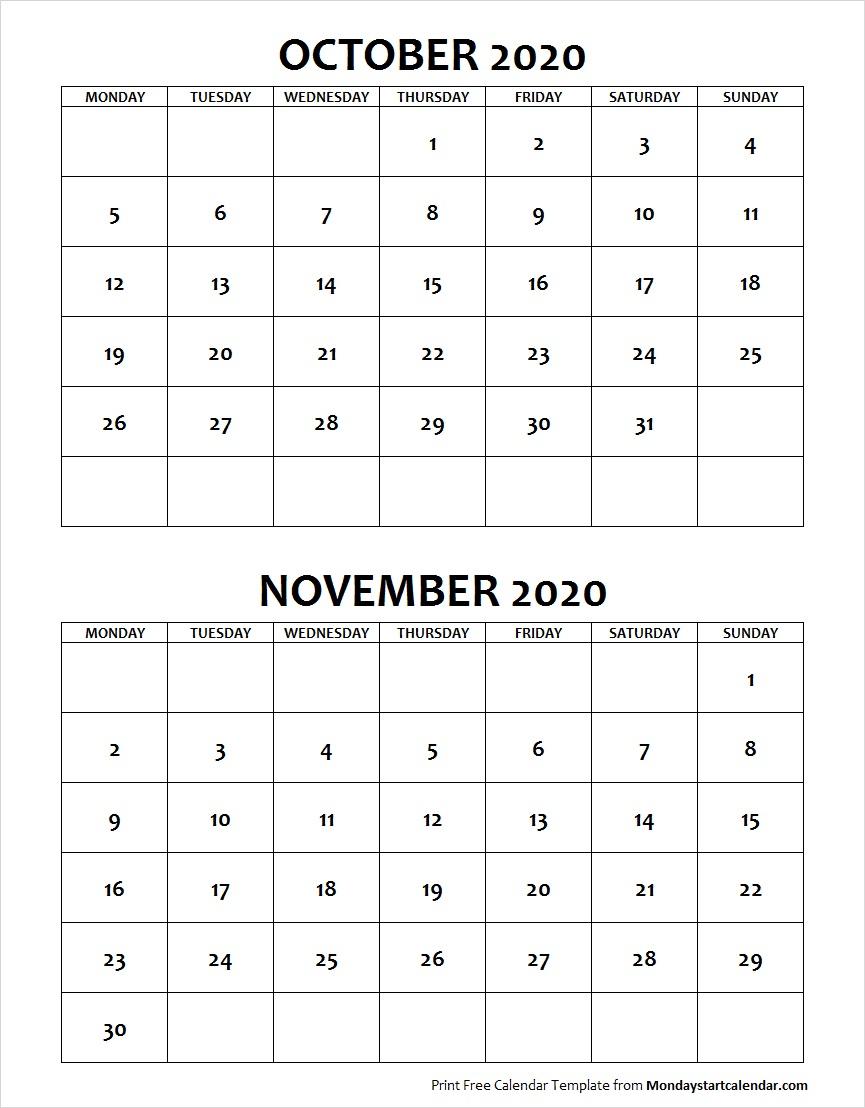 October And November 2020 Calendar Starting Monday Archives in October & November 2020 Calendar
