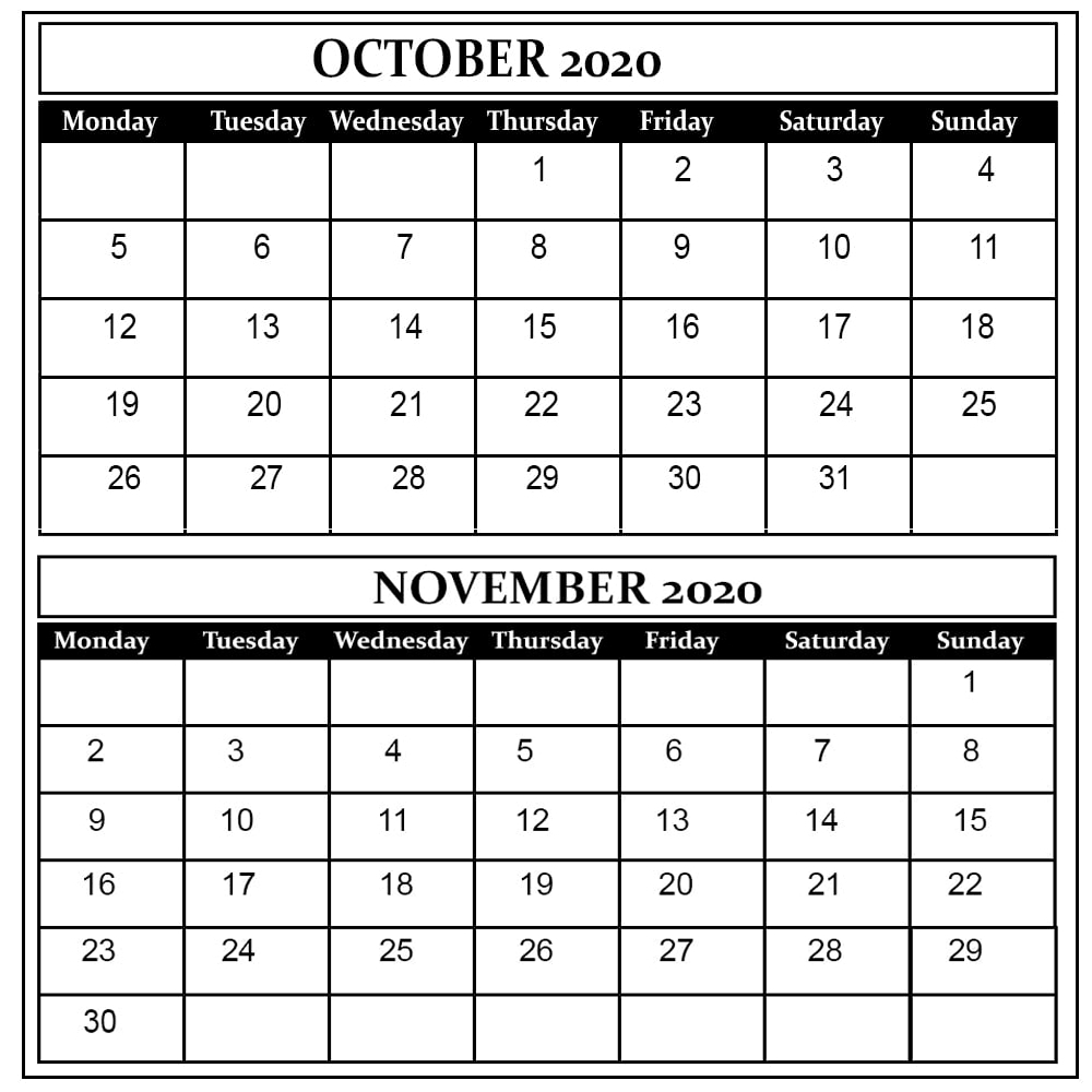 October And November 2020 Free Printable Calendar within October & November 2020 Calendar