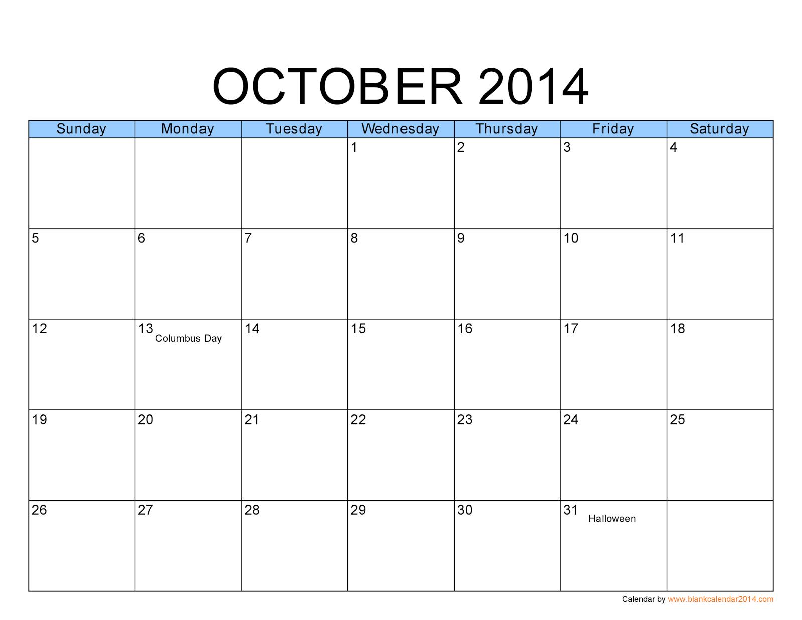 October Blank Calendar 2014 | Calendars  Kalendar  Calendario with regard to Blank Calendar 2014