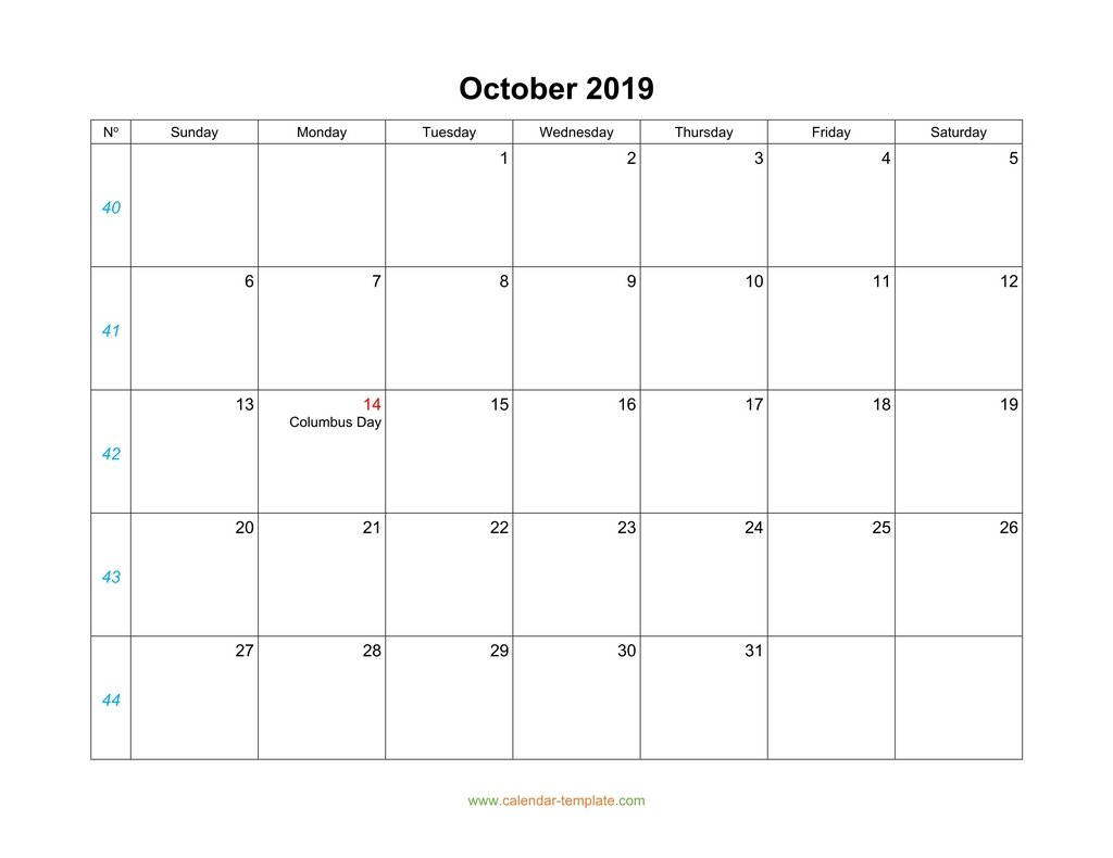 October Calendar 2019 Blank Template pertaining to Blank 31 Day Calendar