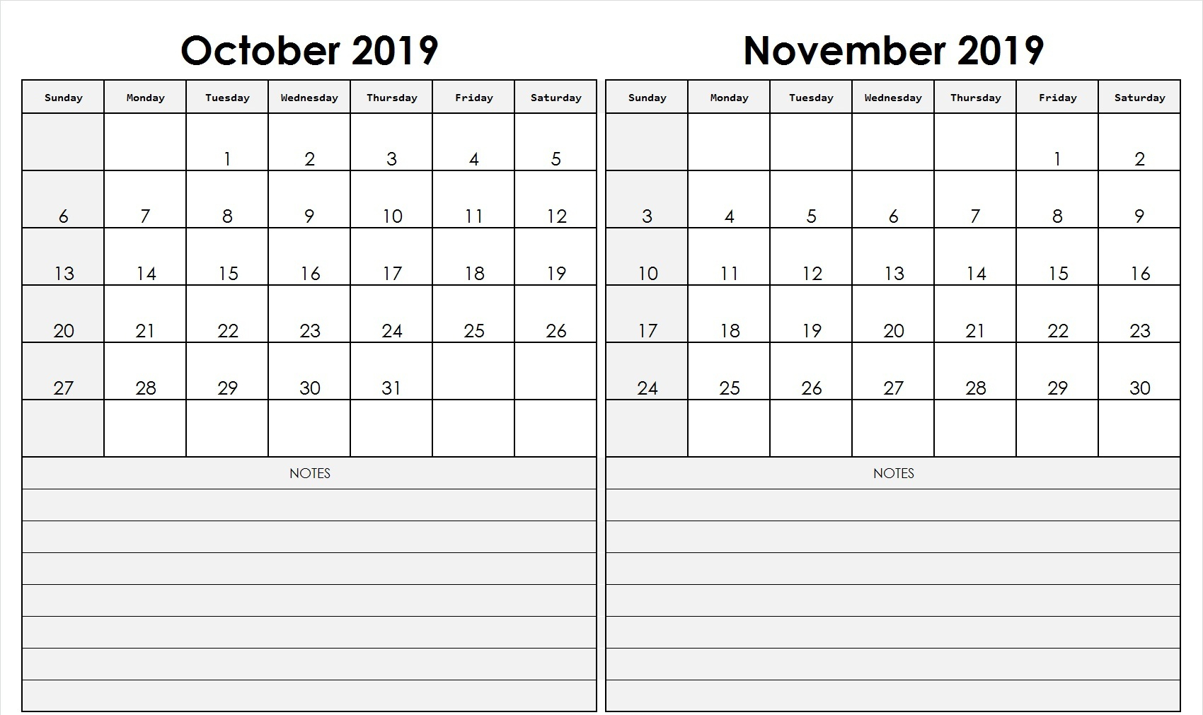 October November 2019 Calendar Printable (2 Month Templates regarding Blank 2 Month Calendar