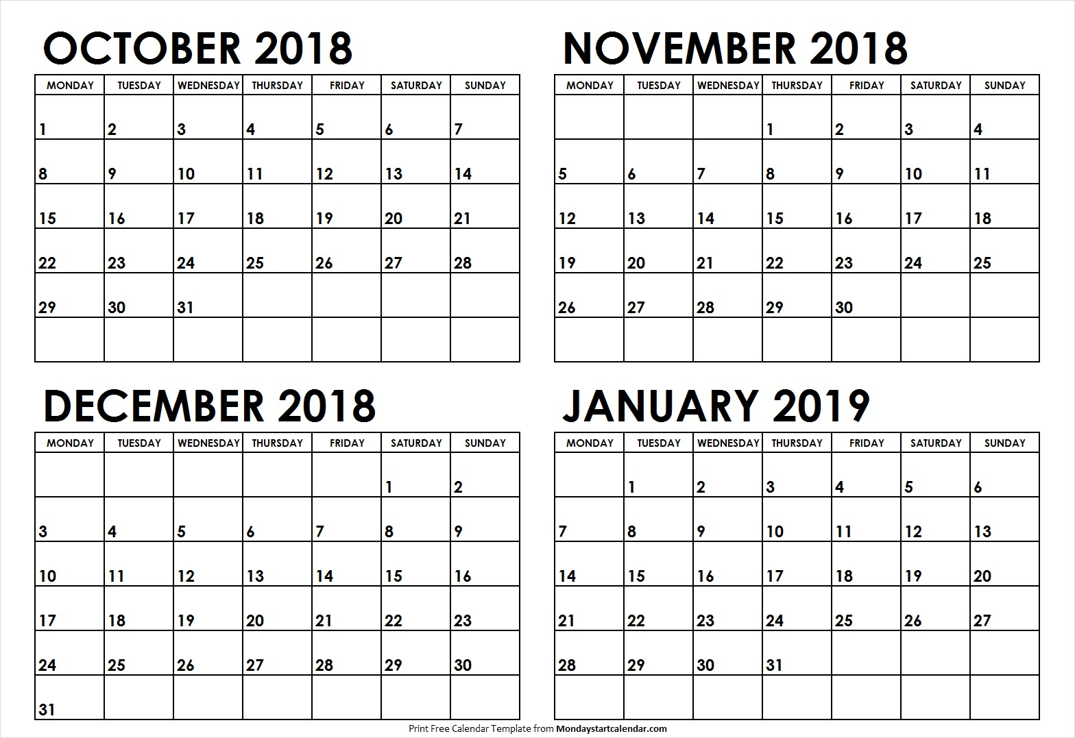 October November December 2018 January 2019 Calendar Template intended for November December January Calendar
