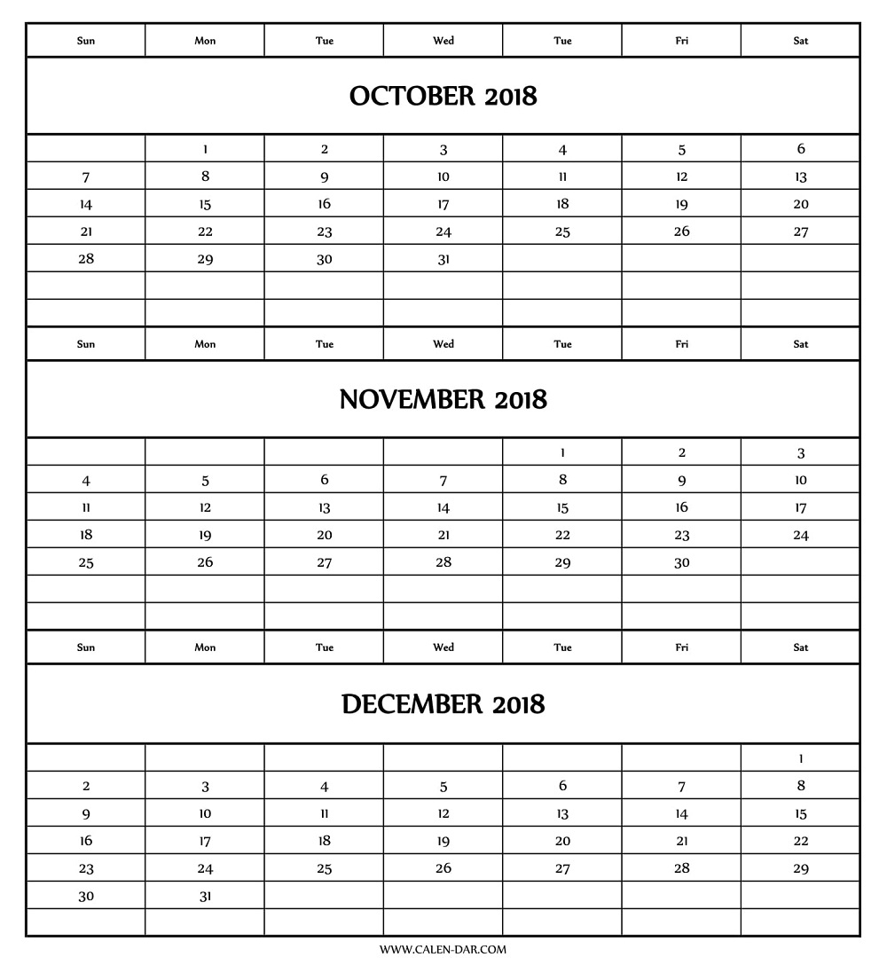 October November December Calendar 2018 | Three Month Template within Three Month Calendar Template