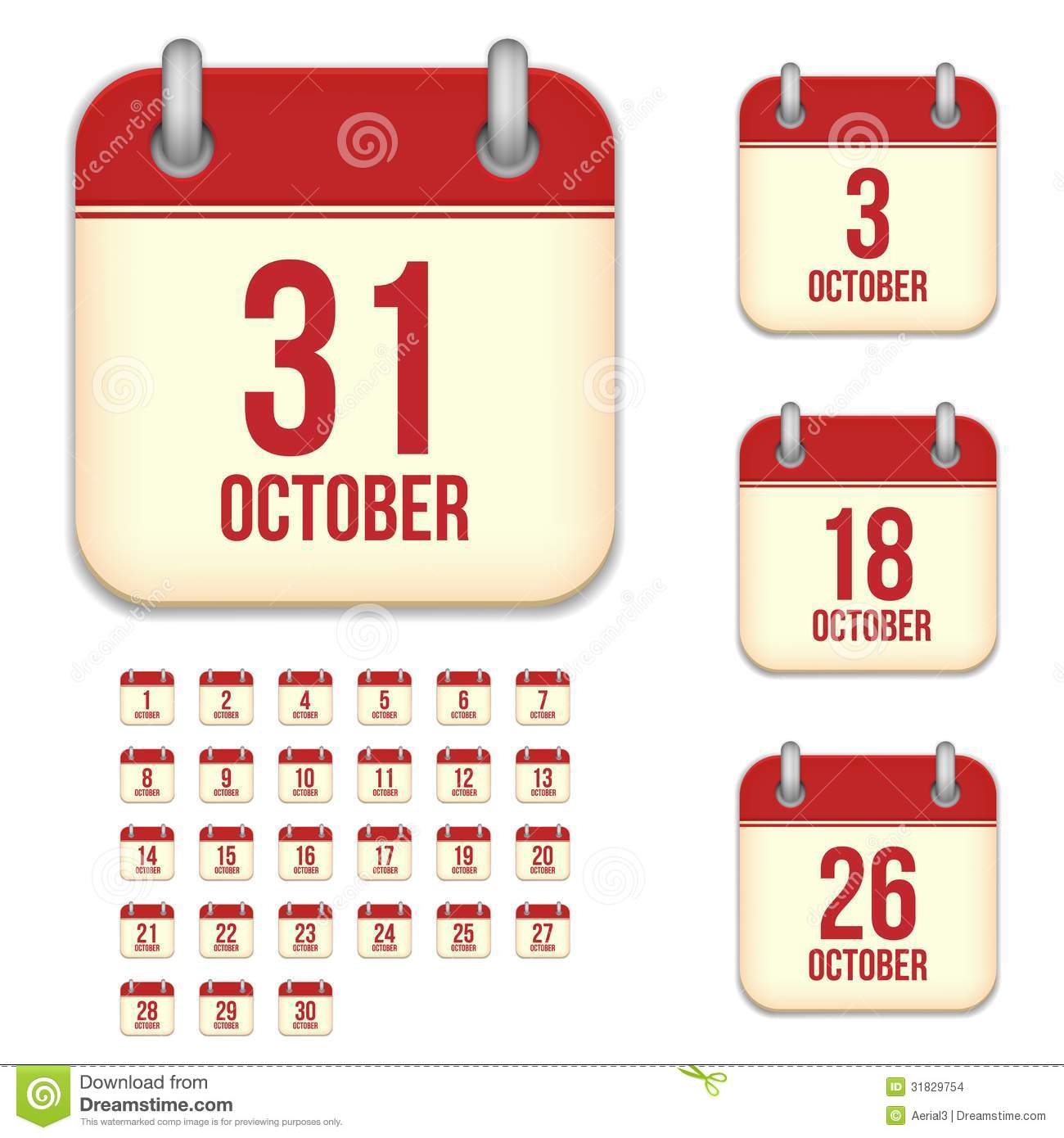 October Vector Calendar Icons Stock Vector  Illustration Of within Calendar Date Icon Generator
