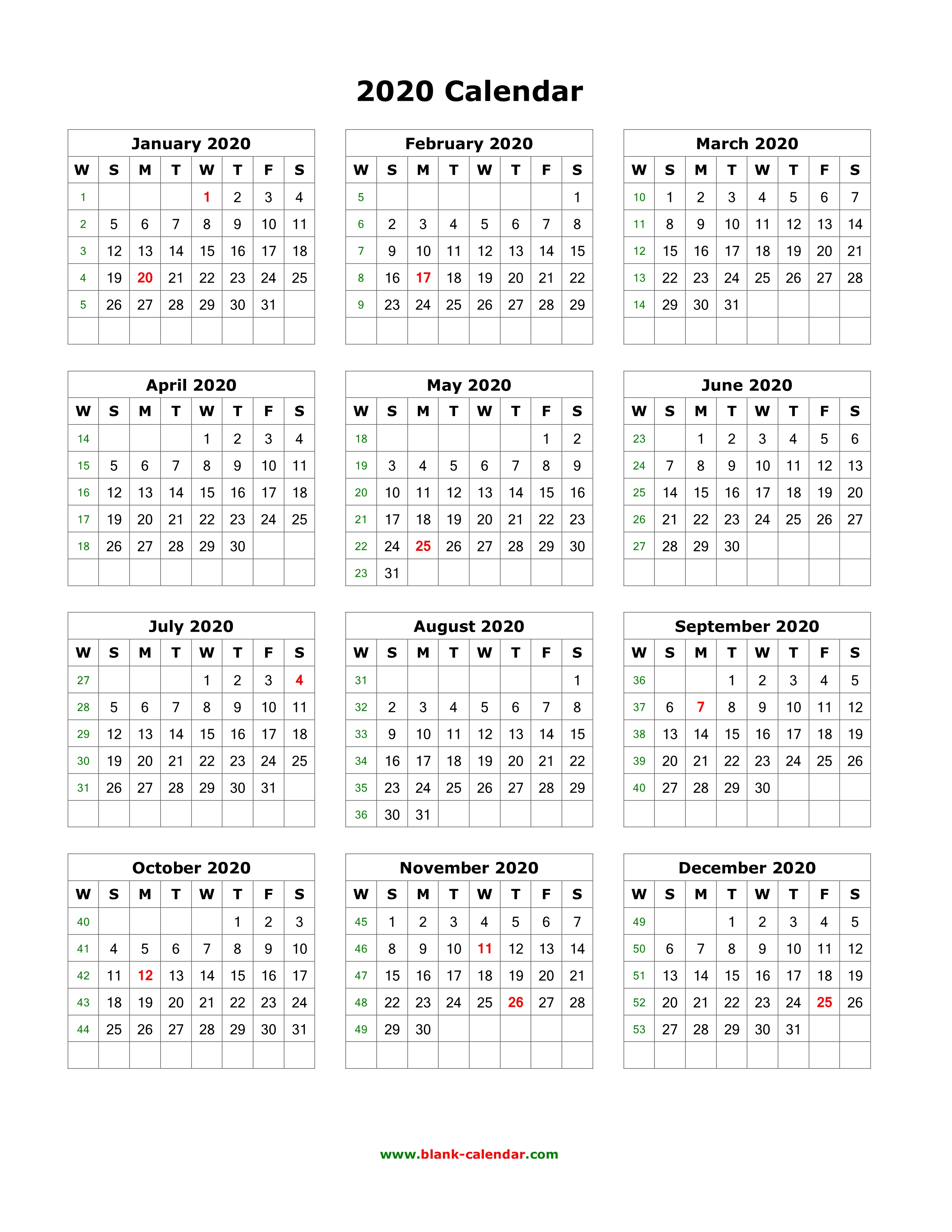 One Page 2020 Calendar  Bolan.horizonconsulting.co pertaining to Printable 12 Month 2020 Calendar