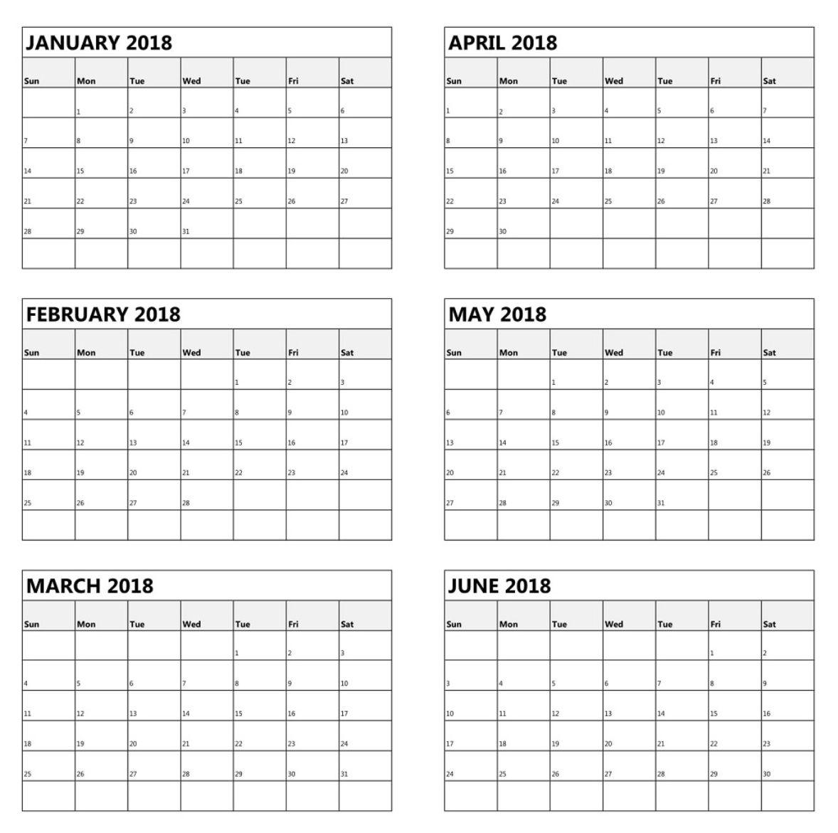 One Page 6 Month Calendar 2018 | Calendar Printables, June pertaining to 6 Month Calendar Template