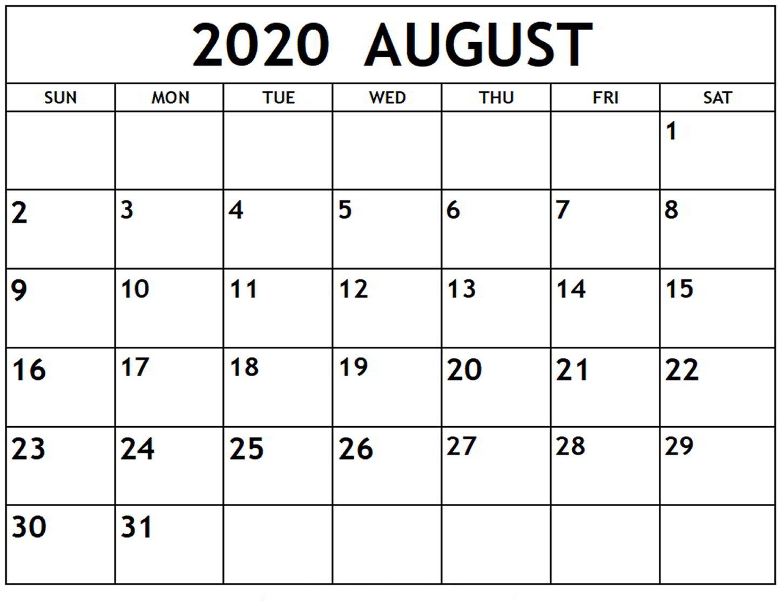 Online August 2020 Calendar Printable Usa School Holidays intended for August 2020 Calendar Printable