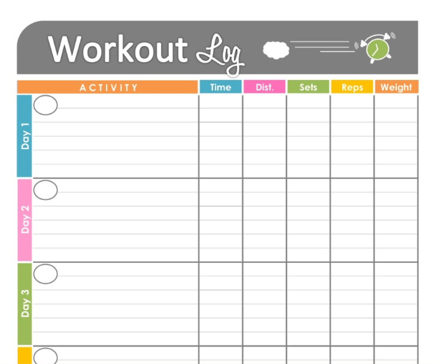 Online Exercise Logs  Bolan.horizonconsulting.co in Blank Training Plan Template