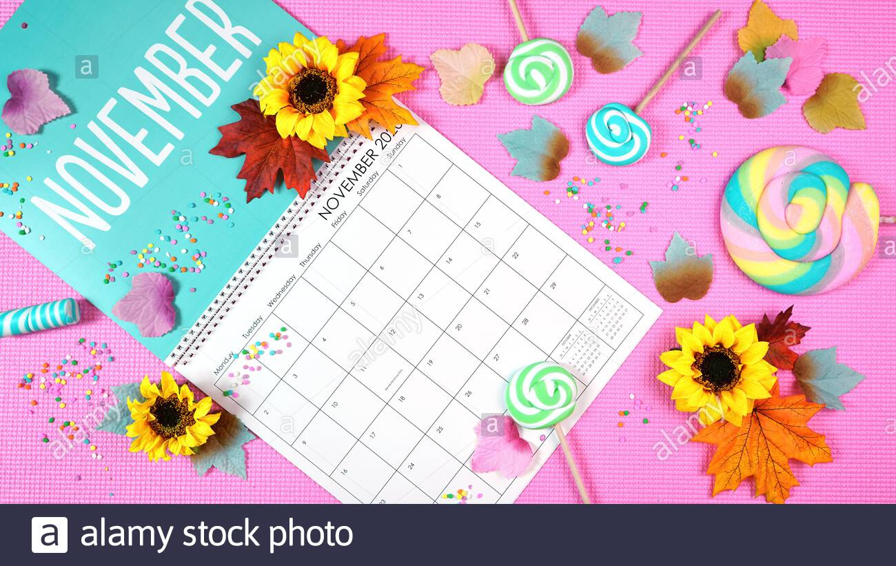 Ontrend 2020 Calendar Page For The Month Of November Modern in November Decorated Calendar