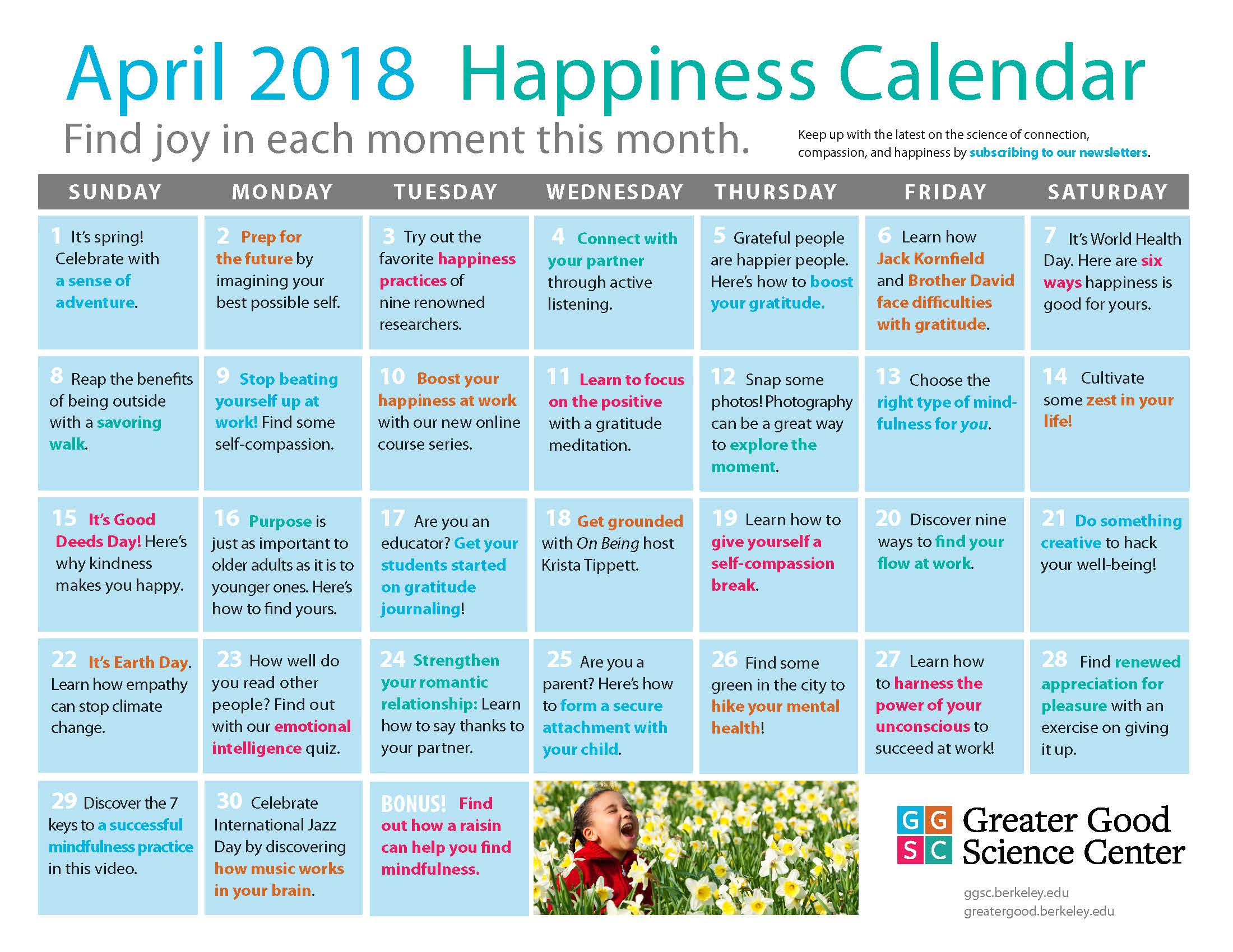Our April Happiness Calendar Is Here! | Ggsc for Uc Berkeley Spring 2020 Calendar