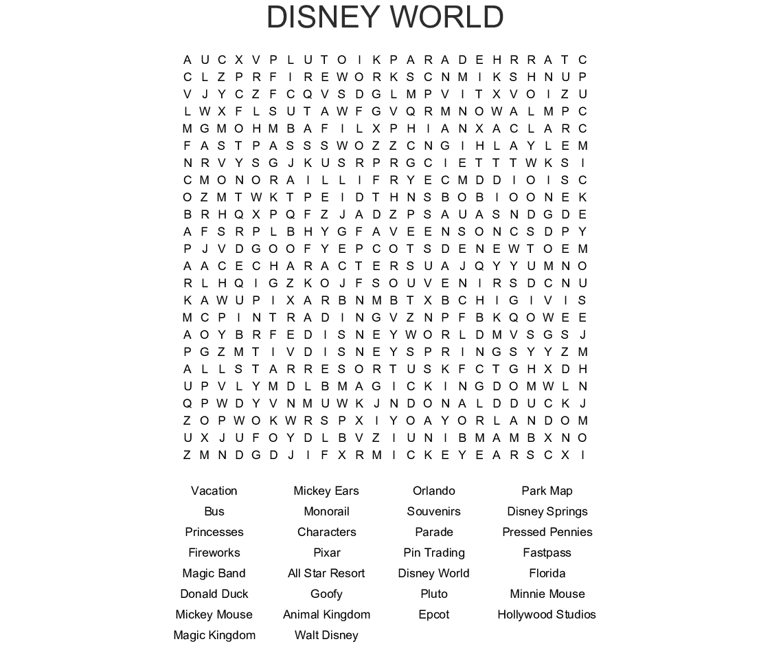 Our Florida Vacation Crossword  Wordmint intended for Disney Princesses Word Search