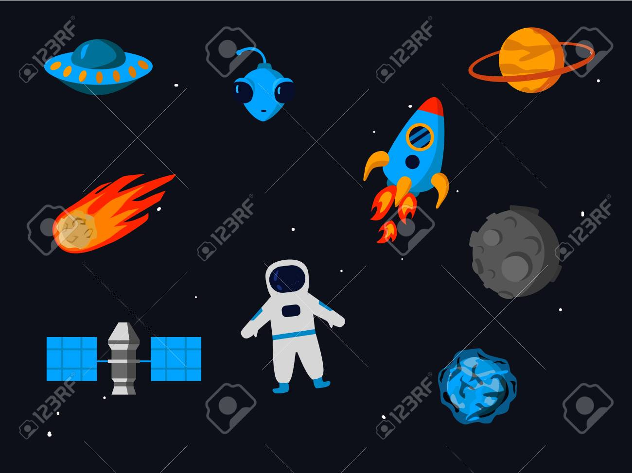 Outer Space Related Objects Set Isolated On Starry Sky Background.. for Space Related Pictures