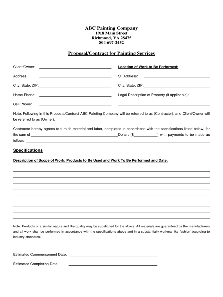 Paint Proposal Template Word Doc | Template Calendar intended for Paint Proposal Template